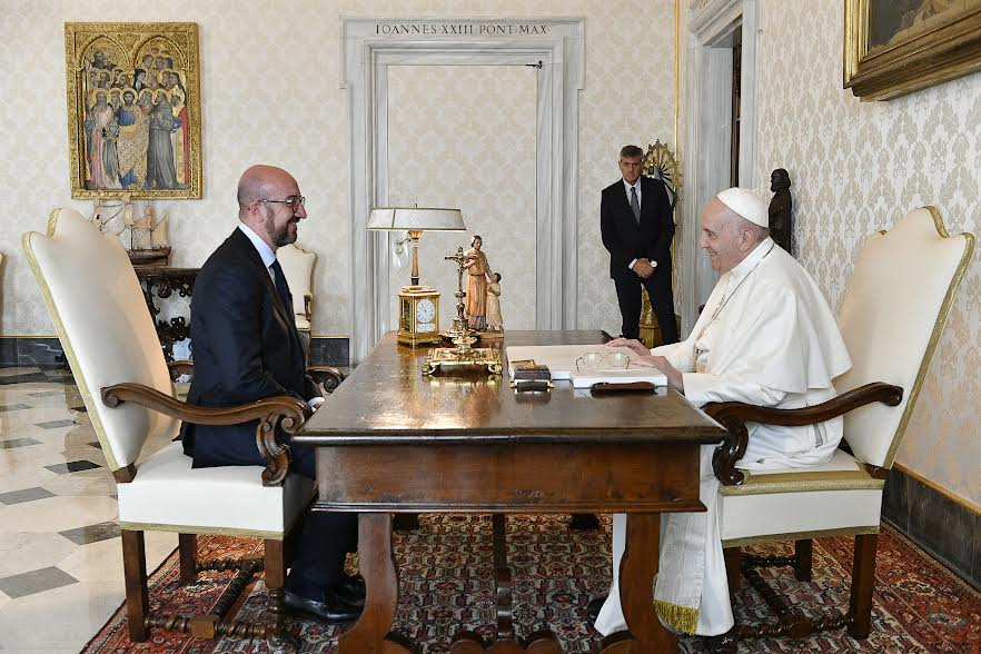 Visite du président Charles Michel © Vatican Media