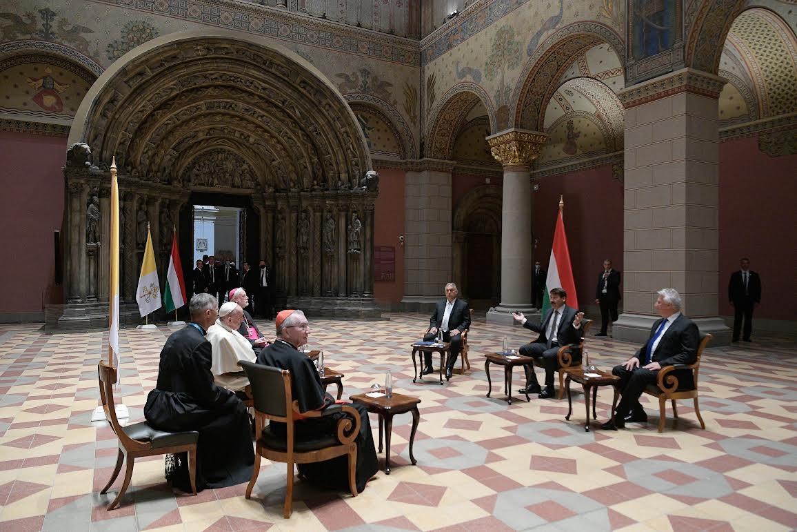 Janos Ader, Viktor Orban, Zsolt Semjén, 12 sept. 2021, Budapest © Vatican Media