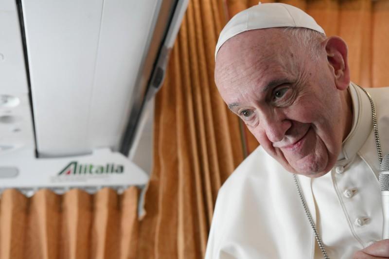 Conférence de presse, vol Bratislava-Rome, 15 septembre 2021, © VaticanMedia